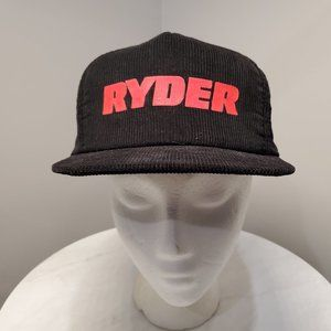 Ryder Vintage Trucker Hat Black Red Corduroy Cap